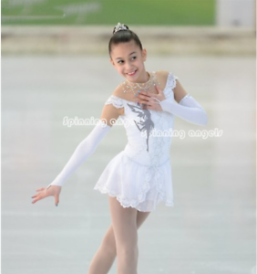 Figure Skating Competition Dress Ice Skating Training Dress Girl Costume White