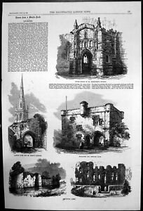 Original Old Antique Print Leicester Abbey St Marys Church Newark Gate 1868