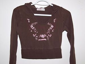 Garage-Womens-Size-Small-Casual-Deluxe-Brown-Long-Sleeve-Crop-Hoodie