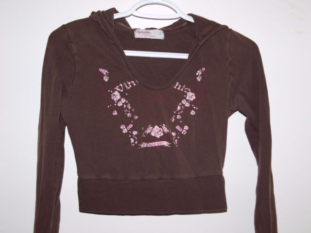 Garage Womens Size Small Casual Deluxe Brown Long Sleeve Crop Hoodie