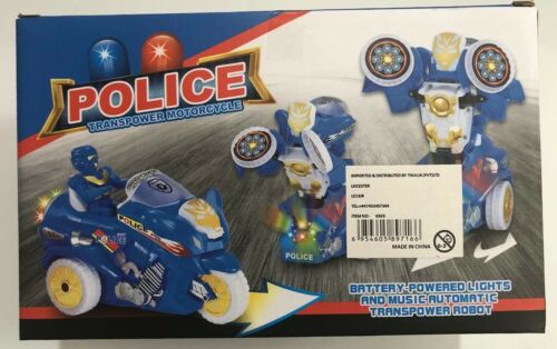 Police Transpower Robot Motorcycle Amazing Toy Gift For Kids Age 3 Battery  New