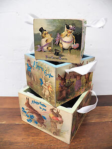 Primitive Set Of 3 Wooden Stacking Nesting Primitive Easter Themed Small Boxes
