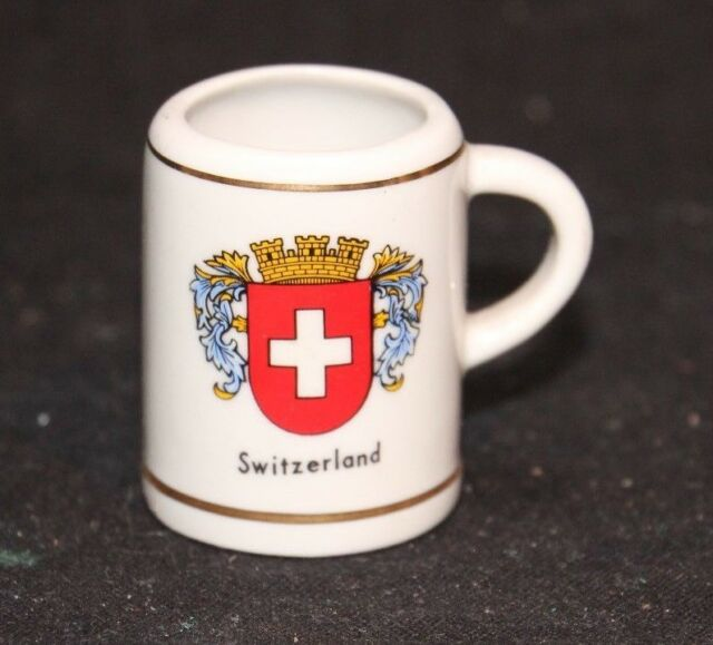 "VINTAGE TRAVEL 2"" MINIATURE SWITZERLAND CREST INSIGNIA CERAMIC BEER MUG STEIN"