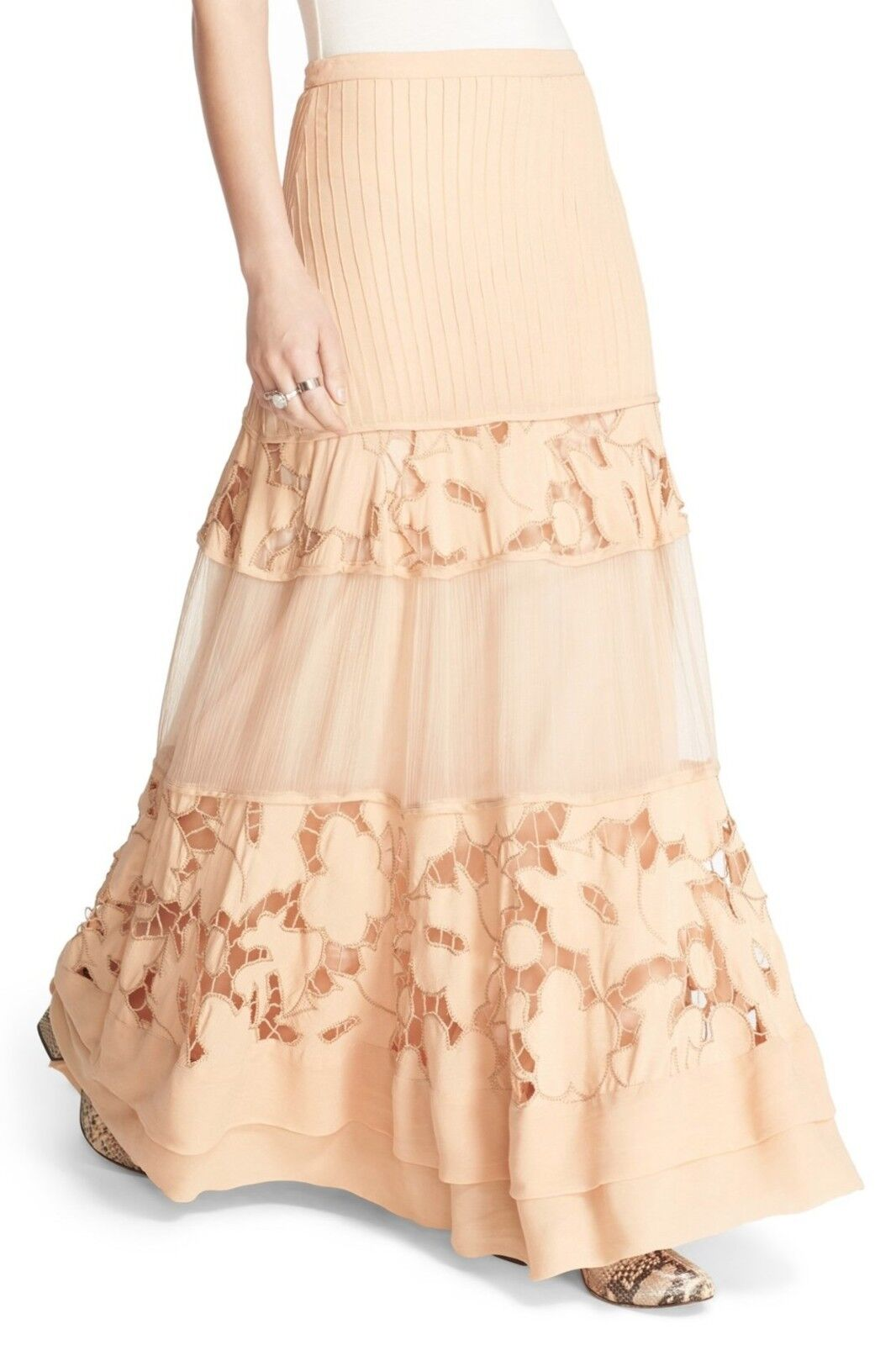 Free People To Put It Wildly Lace Inset Maxi Skirt Peach  0 4  248 NWT OB527323