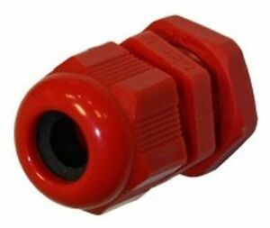 100 x Red 20mm IP68 Nylon Dome Cable Glands /& Locknuts 6mm 12mm