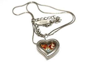 DISNEY-HEART-LOCKET-SILVER-NECKLACE-FLOATING-LITTLE-MERMAID-CROWN-LOVE-CHARM