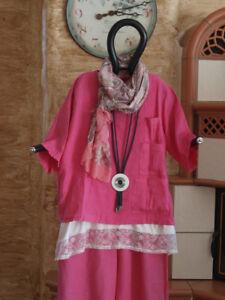2018 54 52 Xxl Ursula Lagenlook 6005 Shirt Gr Leinen Pink Kurz Labass Knöpfe OxZxwqTa5