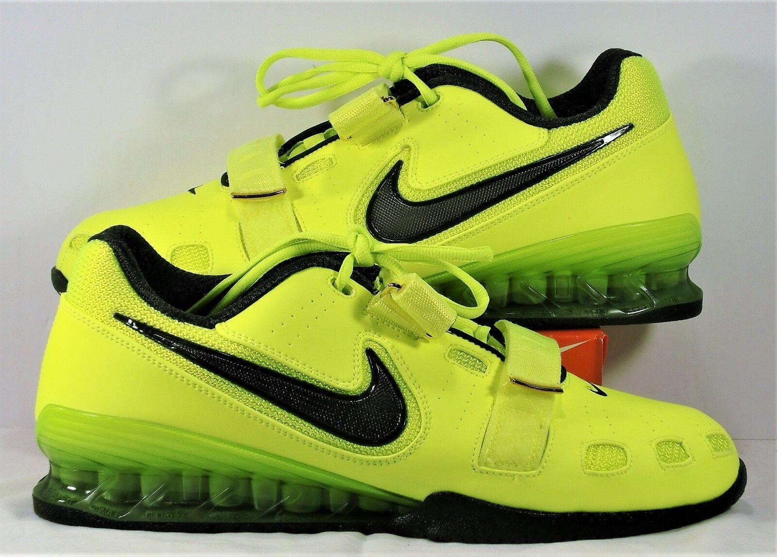 Nike Romaleos 2 Nero & Volt Training Weightlifting Shoes Sz 14 NEW 476927 700