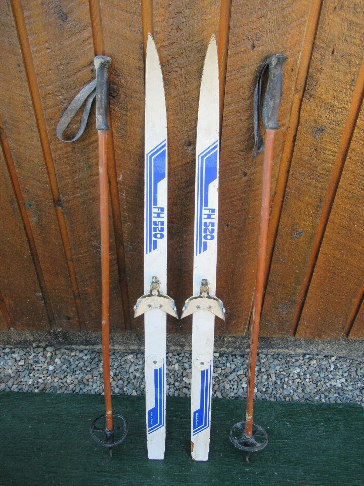 GREAT Ready to Use Cross Country 40  Long 100 cm Skis WAXLESS Base + Poles
