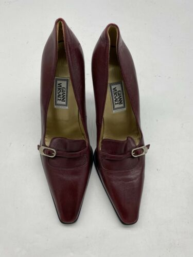 Gianni Versace Burgundy Leather Pumps Heels  Italy