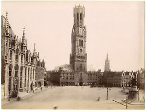 Belgique-Bruges-le-beffroi-et-le-palais-du-Gouverneur-Vintage-albumen-print