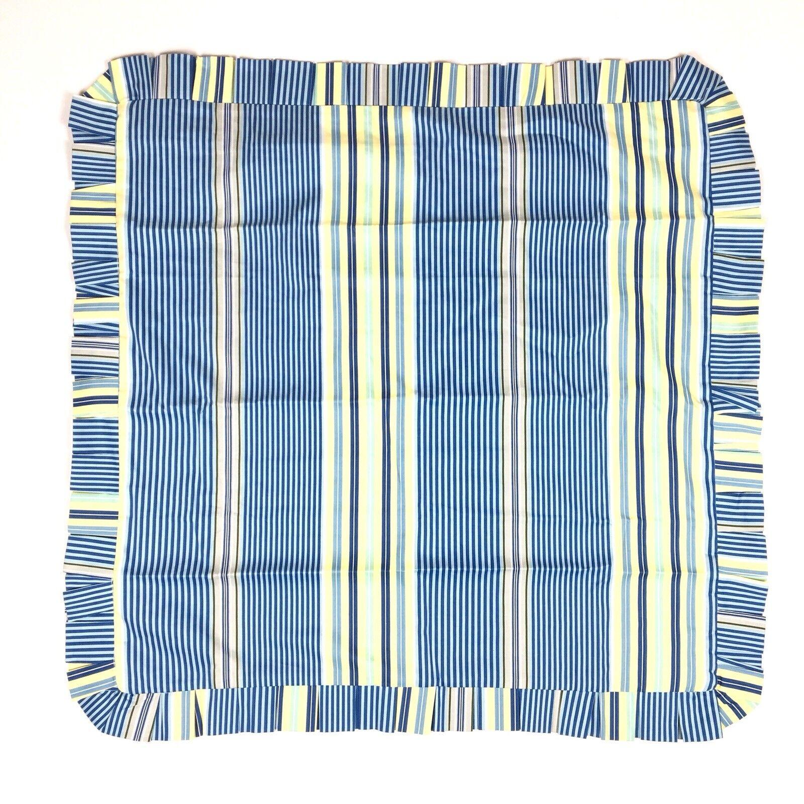 Waverly Striped Euro Pillow Sham blueeee Yellow Ruffled