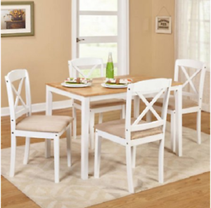 Details about Dining Table Set Wood Kitchen Table And Chairs 5 Piece White  Small Farmhouse
