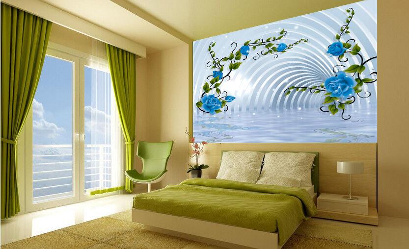 3D Blau Rose Romanze9 Fototapeten Wandbild Fototapete Bild Tapete Familie Kinder