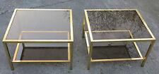 Paire de bouts de canapé rectangulaires en laiton plateaux verre fumé , 70X60