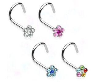New-Surgical-Steel-Multi-Gem-Flower-Nose-Hook-Stud-1mm-Various-Colours