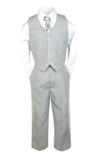 6pc Boy Formal Party Recital Tuxedo Silver Gray Suit 5 6 7 8 10 12 14 16 18 20