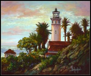 Point Vicente Lighthouse - Chart Counted Cross Stitch Pattern Needlework Xstitch