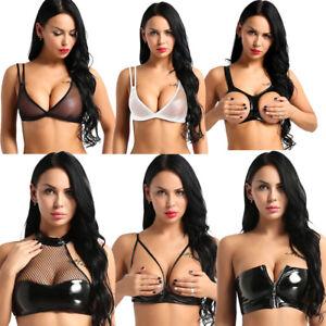 2ccf39ed5d Sexy Women Open Bust Bustier Tank Crop Top Sheer Mesh Unpadded Cami ...