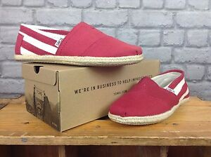 TOMS-LADIES-UK-5-EU-37-5-UNIVERSITY-RED-STRIPE-SLIP-ON-FABRIC-FLATS-SHOES-SUMMER