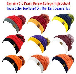 NEW! CC Beanie Unisex College High School Team Color 2-Tone Pom Pom ... cd727ff321c
