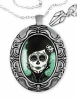 Day Of The Dead Sugar Skull Woman Silver Handmade Halloween Pendant Necklace Usa