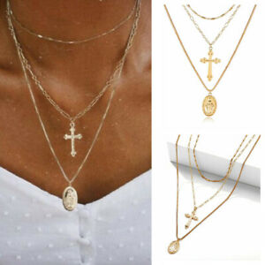 Lady-Multilayer-Clavicle-Virgin-Mary-Cross-Pendant-Choker-Chain-Necklace-Jewelry