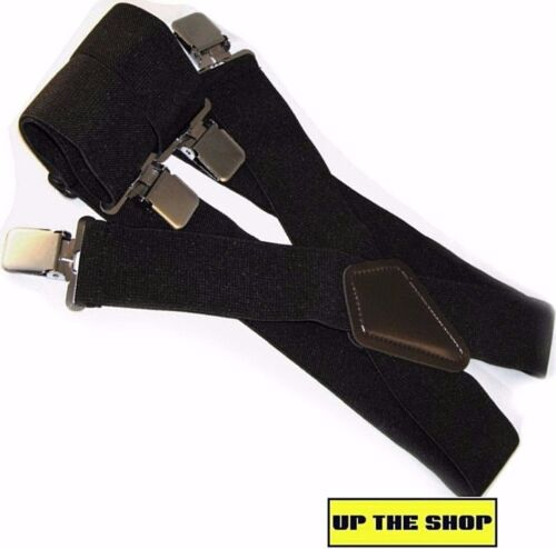 Heavy Duty Extra wide New Motorcycle rider elasticated trouser braces black