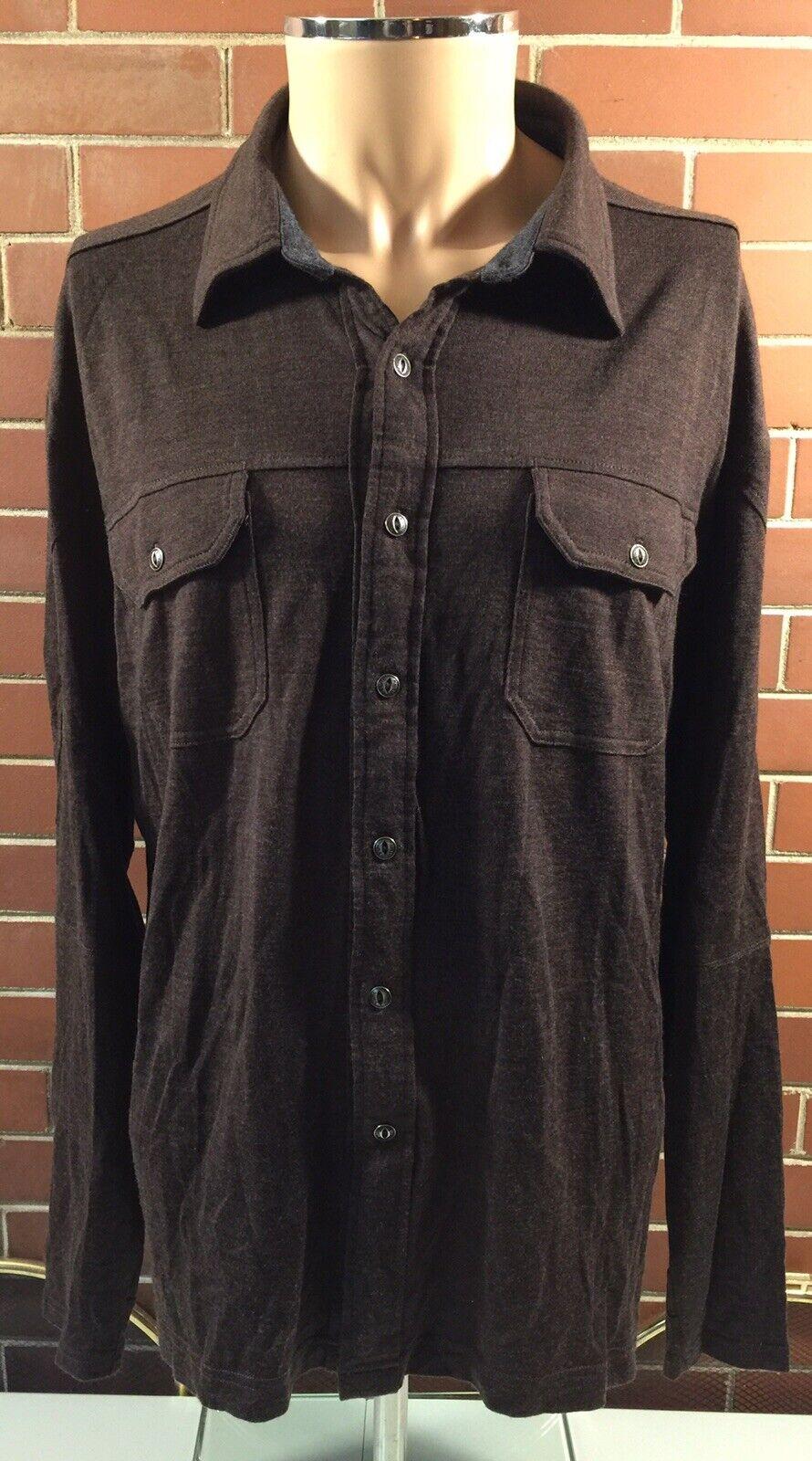 a35648934 KUHL Merino Wool Shirt Button Front Long Mens Large EUC Konflikt ...