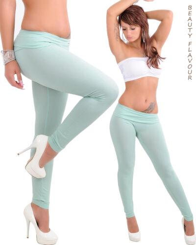 Sommer Damen Leggings High Waist Hose basic lang Lindgrün Aqua Hellblau