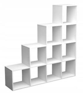 Raumteiler je 6 Fächer stabiles Treppenregal 2 x Stufenregal schwarz