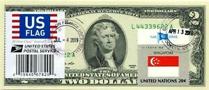 US $2 DOLLARS 1976 STAMP CANCEL FLAG OF UN FROM CHINA LUCKY MONEY VALUE $99.95