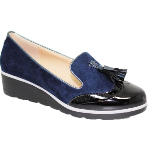 FLC136 Karina Patent Faux Suede Brogue Loafer Wedged Slip On Pumps Shoes