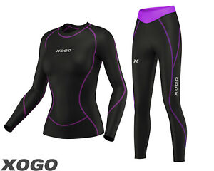 Ladies-Compression-Top-Long-Sleeve-Base-Layer-Running-Gym-Training-Tights-Set
