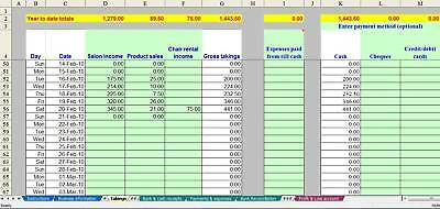 Market stall trader bookkeeping spreadsheet (non-VAT) - 2019