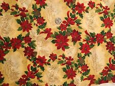"58"" x 45"" Christmas Print Fabric w/Poinsettias for Sewing Quilting or Crafts"