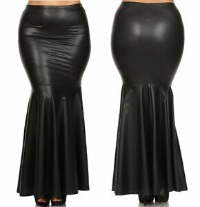 PLUS BLACK FAUX LEATHER HIGH WAIST SLIM FITTED LONG MERMAID FLARE ...