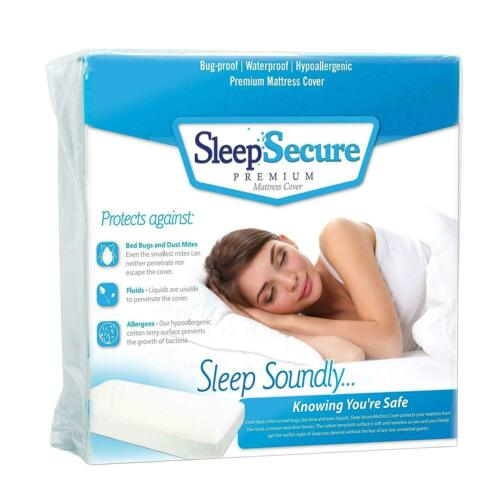 Sleep Secure White Cotton Mattress Cover Protects Against Bed Bugs /& Dust Mites