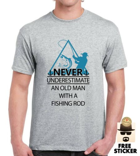 Men/'s Fishing T shirt Dont Underestimate Old Man Funny Fathers Dad Birthday Gift