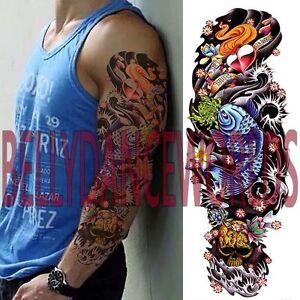 Whole Arm Full Hand Blue Koi Carp Fish Temporary Tattoo Man Men Body