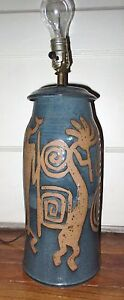 Details about Vintage Hand Thrown Art Pottery Lamp Base - SW Design  Pictographs Kokopelli