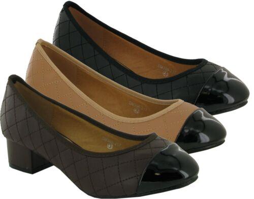 Neuf Femmes Femmes Bas Bloc Talon Décontracté Escarpins Cour Chaussures UK Taille 8-11