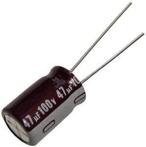 AgréAble 10x Condensateur Chimique Low Esr 47µf ±20% 100v Tht -55..105°c 5000h Ø10x16mm
