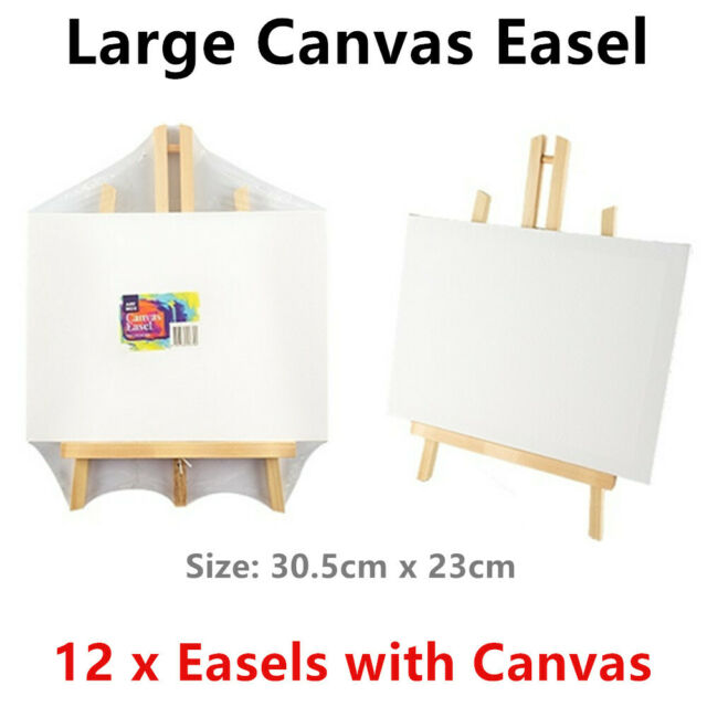 12 x Large Wooden Easel with Blank Canvas 30.5x23cm Art Painting Drawing Display