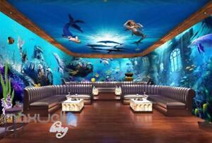 3d Underwater Mermaid Dophin Wall Murals Wallpaper Paper