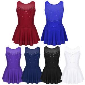UK-Kids-Girls-Figure-Skating-Dress-Costume-Ballet-Dance-Gymnastics-Leotard-Dress