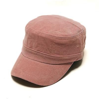 Unisex Mens Solid Color Corduroy Cord Military Cadet Cap Trucker Hats Khaki