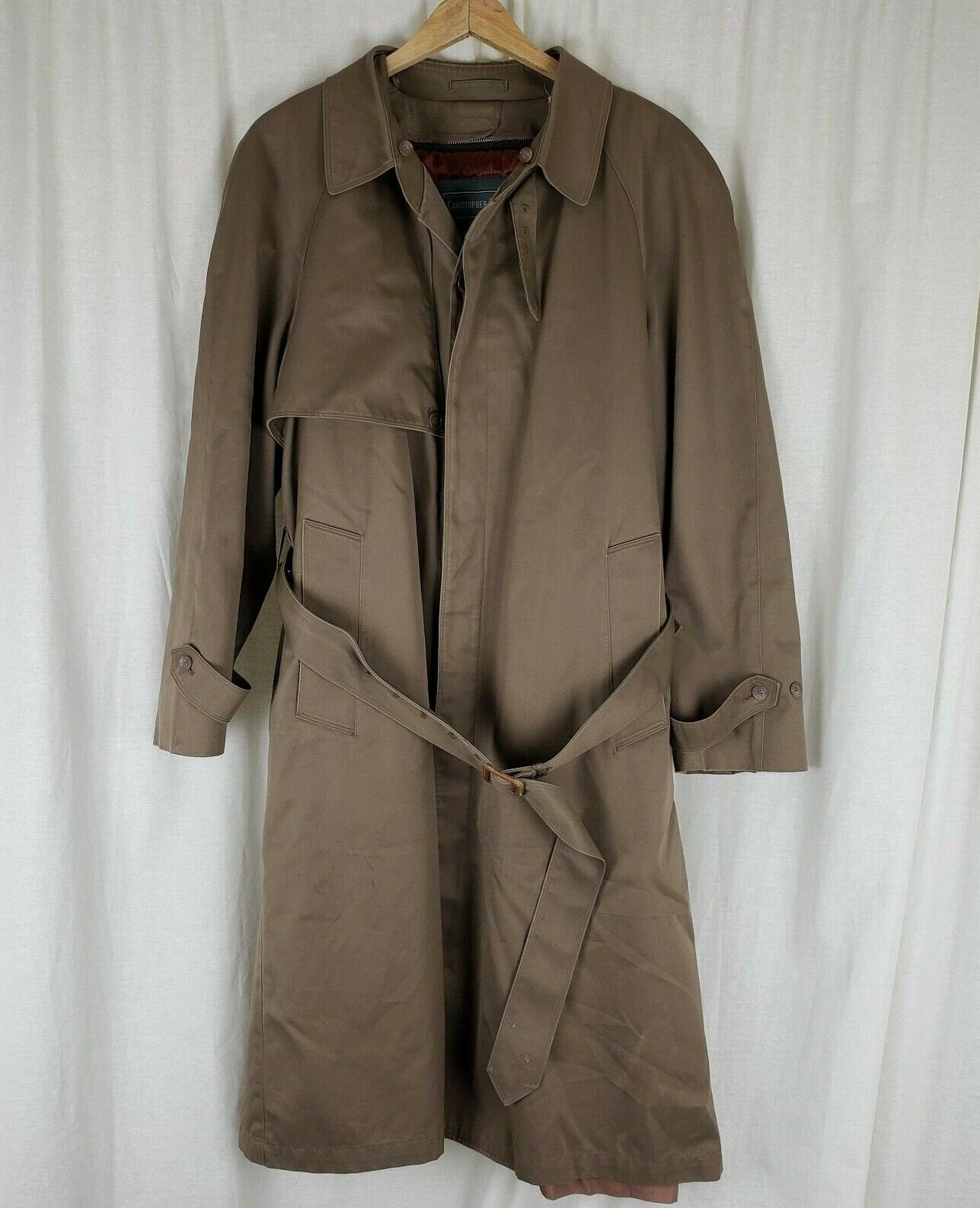 Vtg Christopher Hayes Belted Trench Coat Mens 40 R Removable Insulated Fur Liner