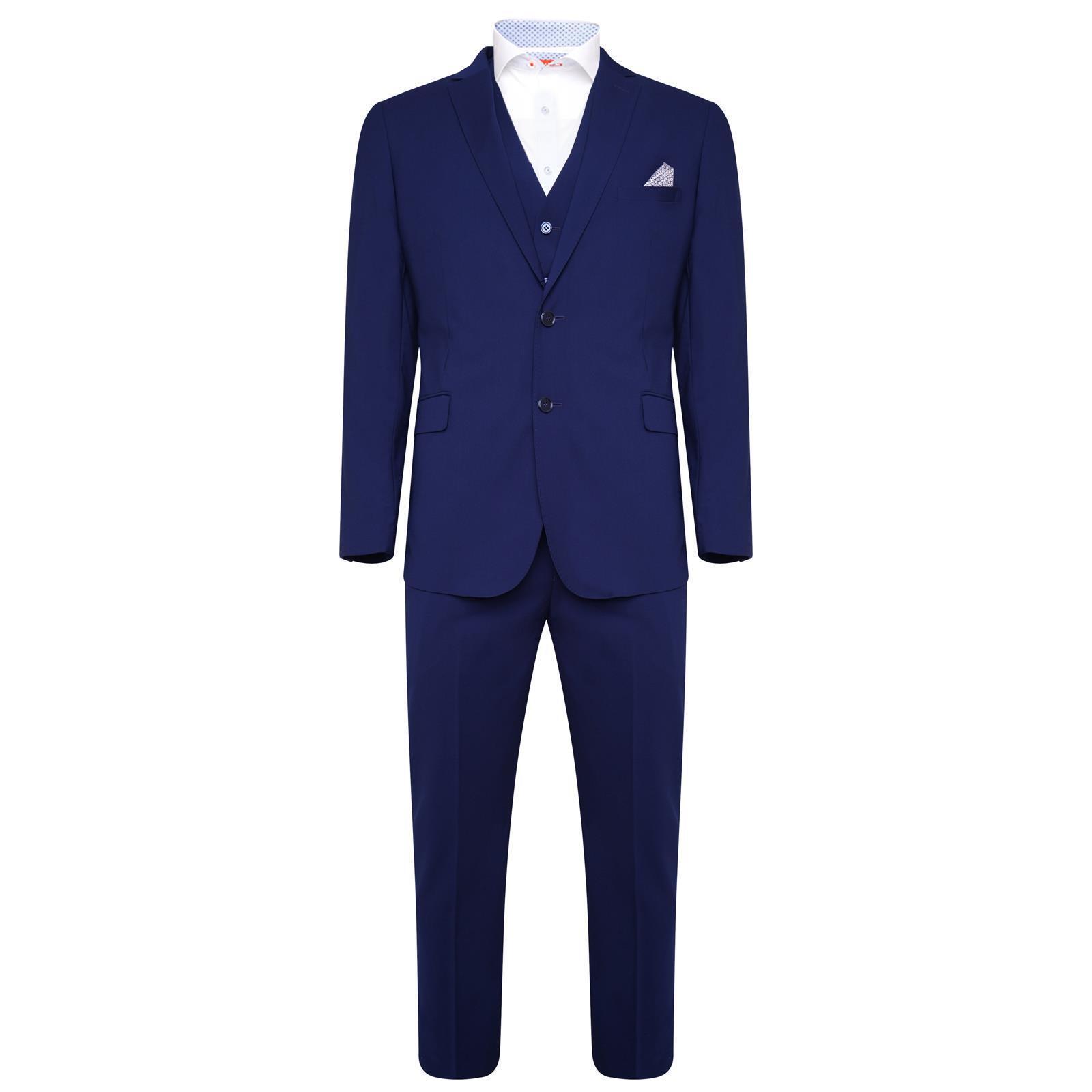 Harry Braun Bamboo 3 Piece Slim Fit Suit in Blau