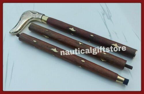 Handle-Wooden-3-Fold-Walking-Stick New Designer-Artcraft-Shape-Brass-polish-Dog